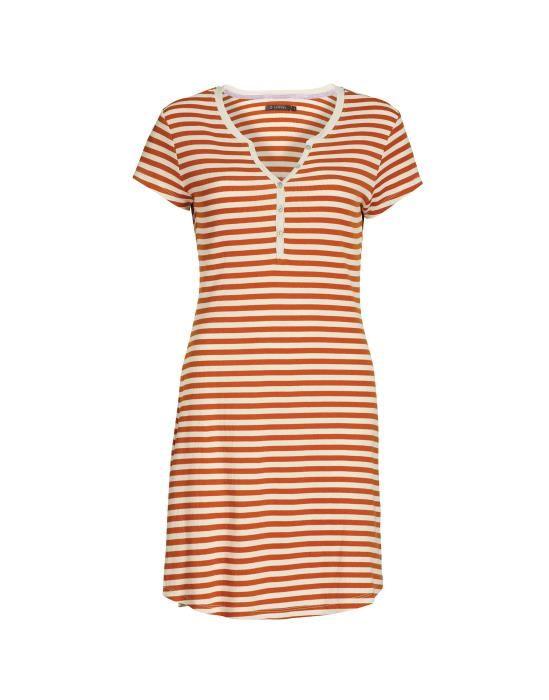 ESSENZA Lois Rib Stripe Leather Brown Nachthemd XS