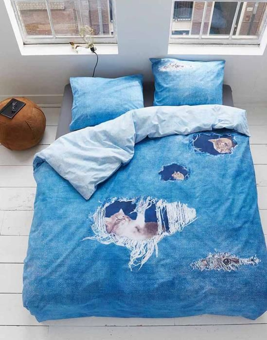 Covers & Co Ripped Jeans Blau Bettwäsche 135 x 200 cm