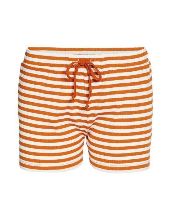 ESSENZA Roques Rib Stripe Leather Brown Kurze Hose XS