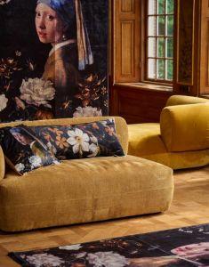ESSENZA Daffodils Reunited Schwarz Dekokissen 50 x 50 cm