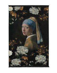 ESSENZA Floral Girl Schwarz Wandteppich 120 x 180 cm