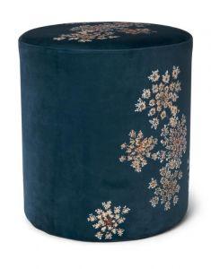 ESSENZA Lauren Indigo Blue Samthocker 40 x 40 x 43 cm