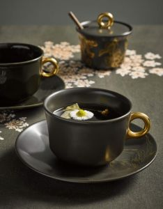 ESSENZA Masterpiece Dunkelgrün Kaffeetasse & Untertasse 22 cl