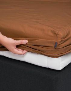 ESSENZA Minte Leather Brown Spannbettlaken 180 x 200 cm