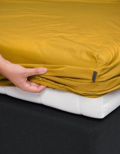 ESSENZA Premium Percale Senfgelb Spannbettlaken 180 x 210 cm