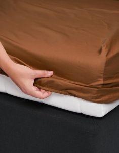 ESSENZA Satin Leather Brown Spannbettlaken 160 x 200 cm