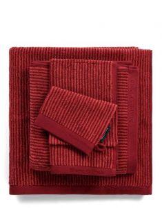 Marc O'Polo Timeless Tone Stripe Deep Rose / Warm Red Handtuch 50 x 100 cm