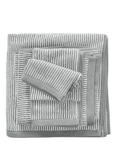 Marc O'Polo Timeless Tone Stripe Grau / Weiß Handtuch 50 x 100 cm
