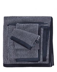 Marc O'Polo Timeless Tone Stripe Marine / Light Silver Gästetuch 30 x 50 cm