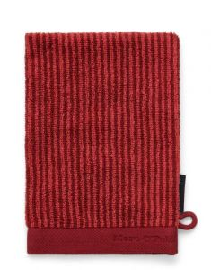 Marc O'Polo Timeless Tone Stripe Deep Rose / Warm Red Waschhandschuhe 16 x 22 cm