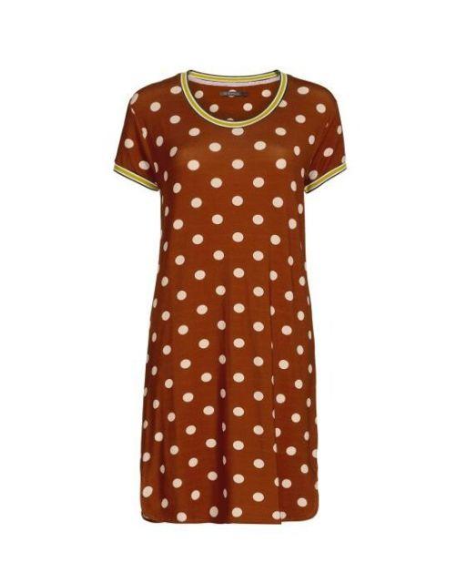ESSENZA Loreen Dot Leather Brown Hauskleid kurz XS