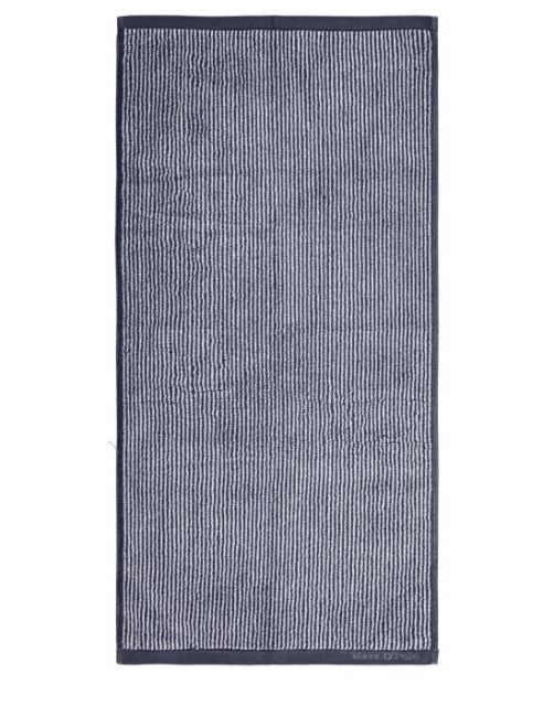 Marc O'Polo Timeless Tone Stripe Marine / Light Silver Handtuch 50 x 100 cm