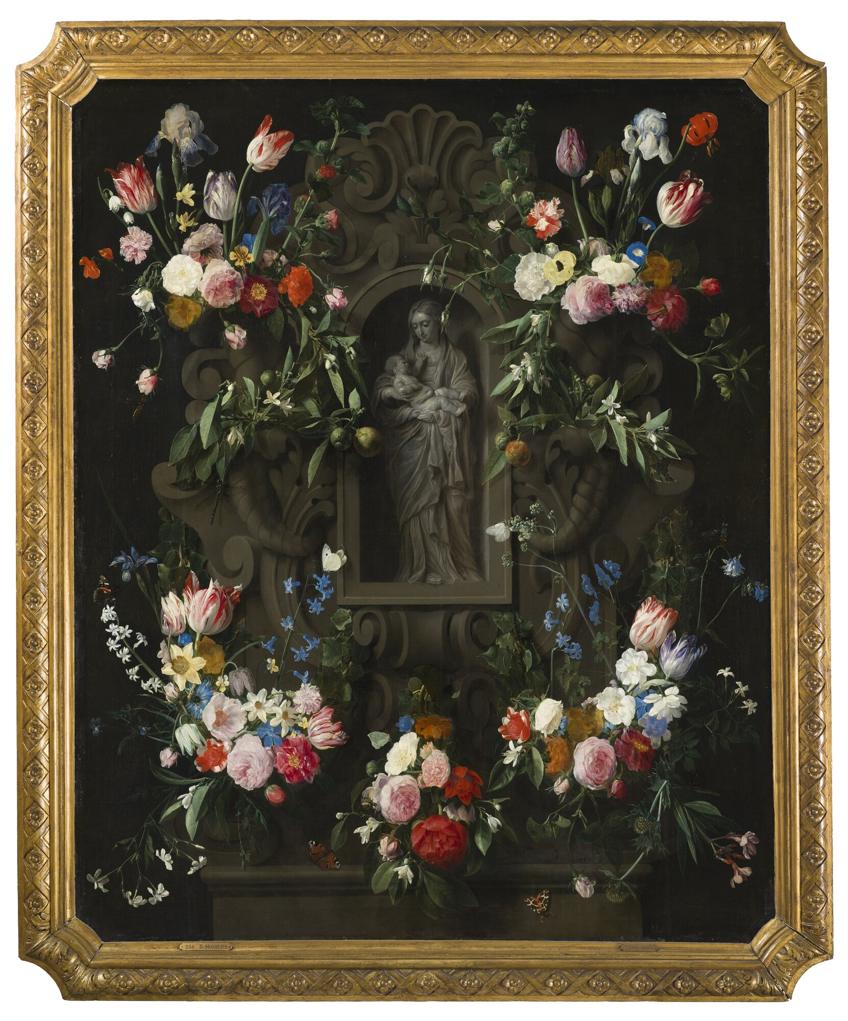 Bloemencartouche met Mariabeeld - Daniel Seghers, Thomas Willeboirts Bosschaert, 1645