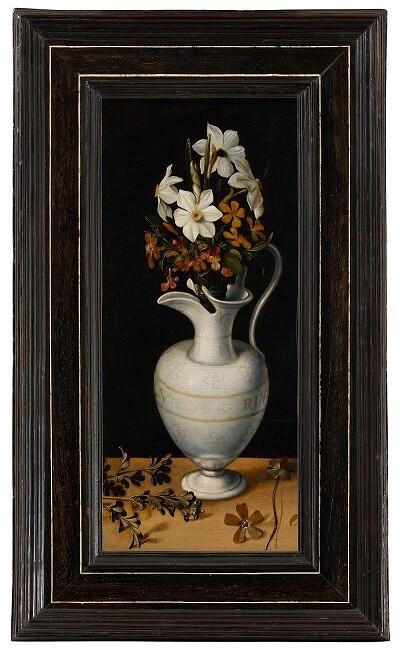 Narzissen, Immergrün und Veilchen in einem Krug - Ludger tom Ring de Jonge, um. 1562